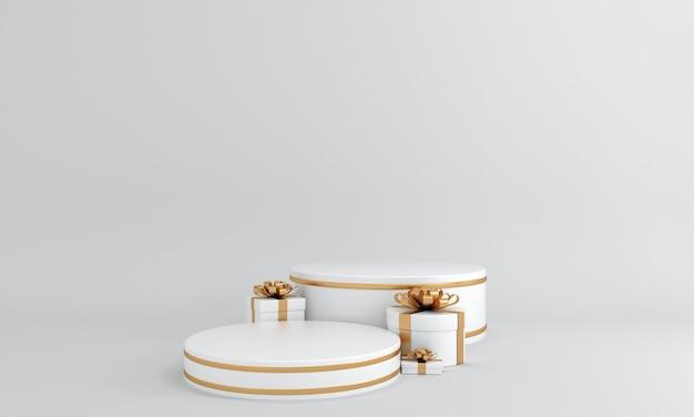 ギフトで飾られたエレガントなホワイトとゴールドのラウンド表彰台は、プレミアム製品を展示するために立っています
