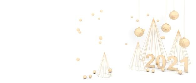 エレガントな白い背景ゴールデンクリスマスツリー輝く黄金のボール。