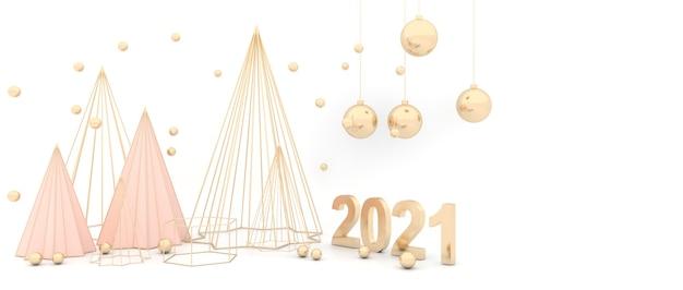 우아한 흰색 배경 황금 크리스마스 트리 스파클링 황금 공입니다.