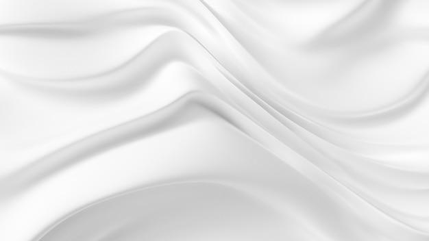 カーテン生地とエレガントな白い背景。 3dイラスト、3dレンダリング。