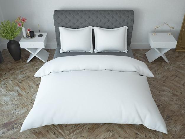 Elegant white bedroom with classic wooden floor