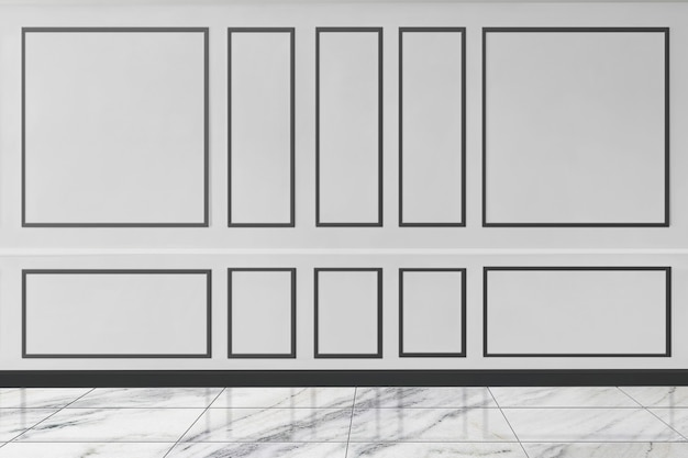 Elegant white patterned wall mockup with marble floor