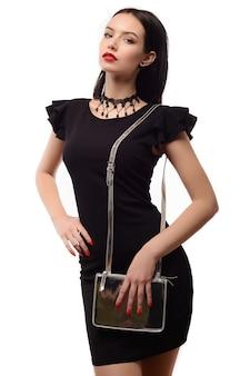 실버 패션 가방 우아한 여자