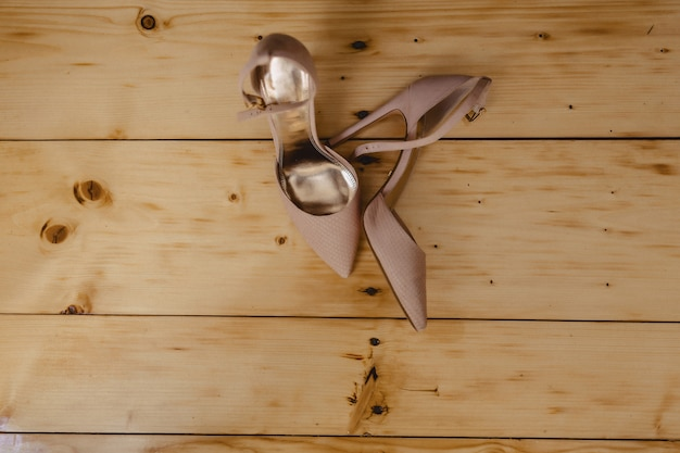 Elegant women's shoes for celebrations and weddings, bridal wear and details