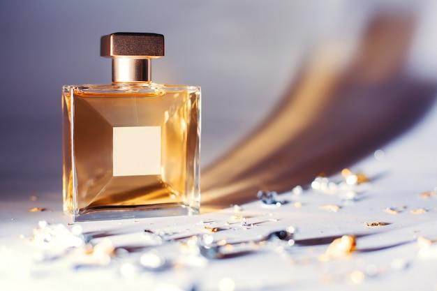 Elegant yellow perfume bottle
