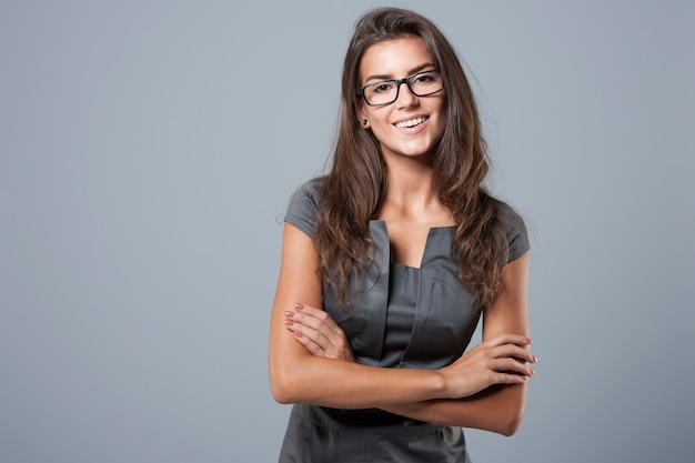 Elegant young businesswoman posing