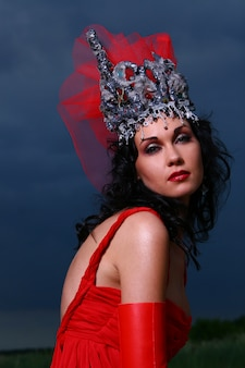 Elegent beautiful woman with crown