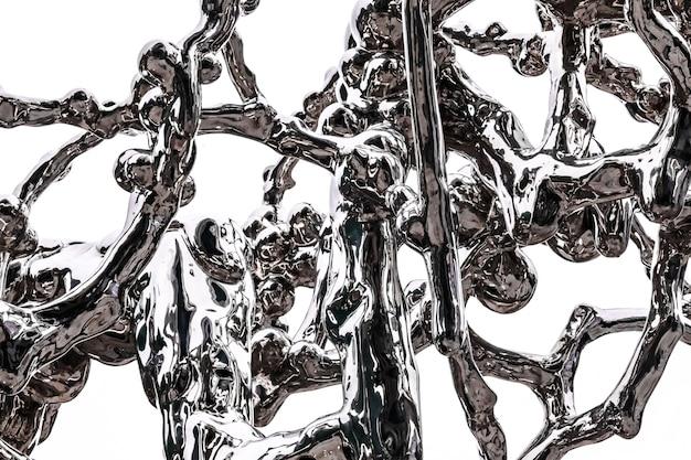 白い背景に分離された流動性と飛沫液体をシミュレートするクロムメッキ鋼の抽象的な図の要素。