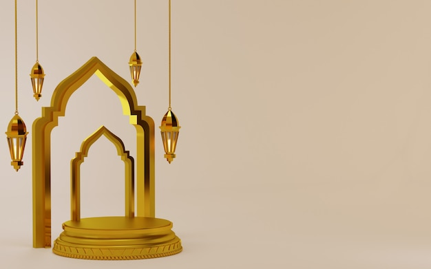 Элемент рамадан карим фон с подиумом и фонарем