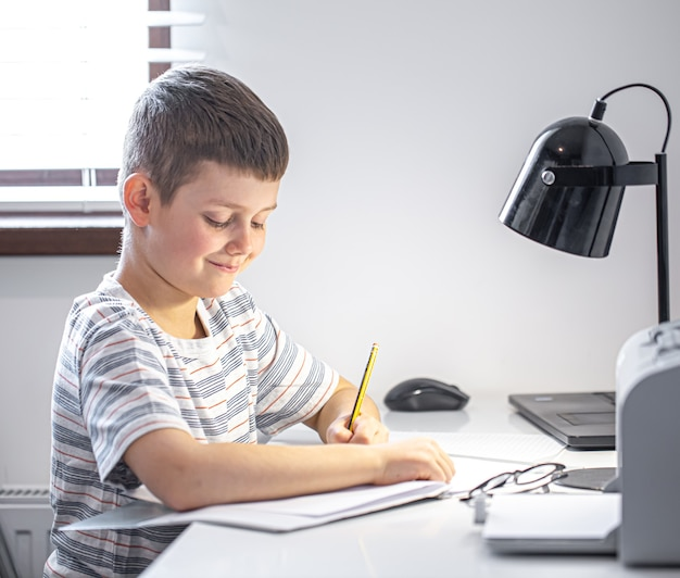 An elementary school student sits at a table with a lamp and writes something in a notebook.