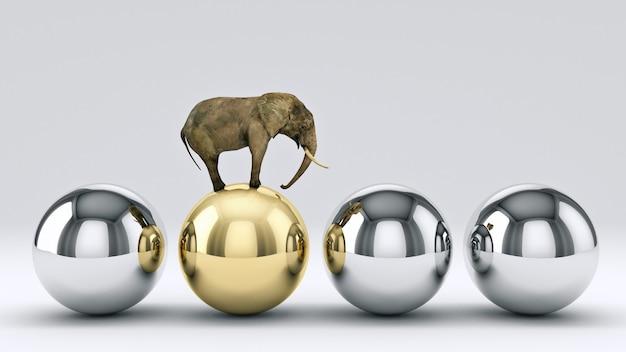 象とボールの3dレンダリング