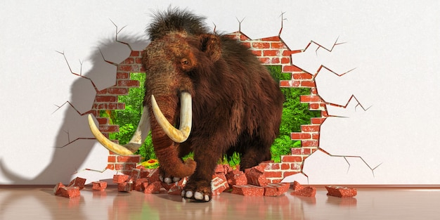Elephant emerging from a fault in the wall, 3d illustration