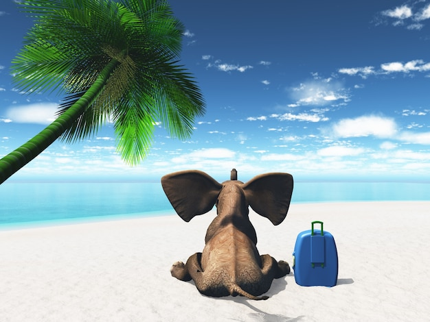 象のレンダリング3dスーツケースでビーチに座っていました