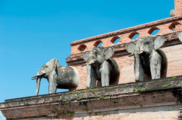 Elephant statues at wat chedi luang, chiang mai, thailand