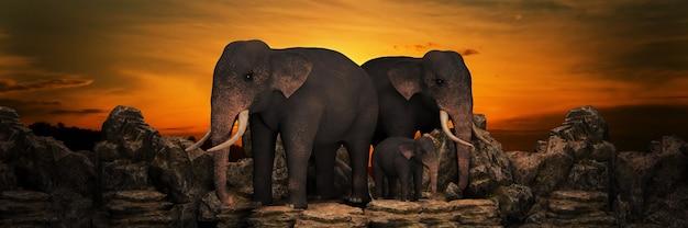 Elephants at sunset 3d rendering