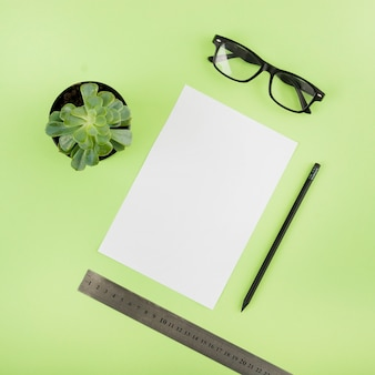 Elevated view of blank paper; potted plant; pencil; ruler and spectacles on green background