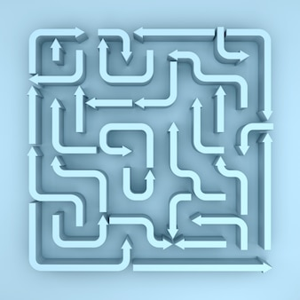 An elevated view of blue arrows maze. 3d rendering