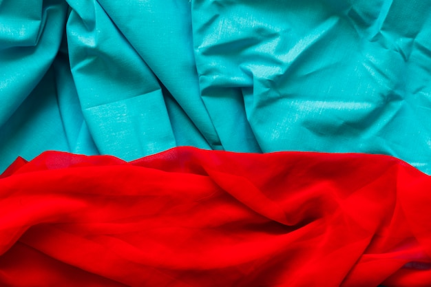 Elevated view of blue and red colored fabric
