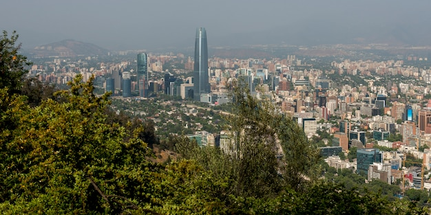 Elevated view of the city, santiago, santiago metropolitan region, chile