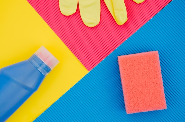 An elevated view of cleaning supplies background
