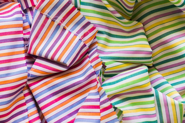 Elevated view of colorful stripes pattern fabric
