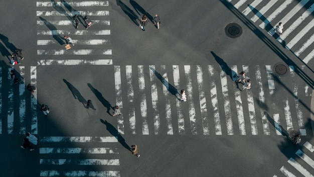 Elevated view over a crowd of japanese pedestrian crossing in road intersection with light of a sunset. aerial view of asian people in busy scramble crosswalk of japan.
