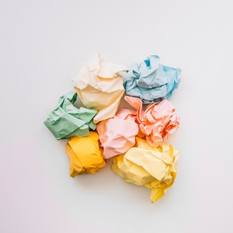 Elevated view of crumple paper isolated on white background