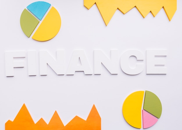 Elevated view of finance word with pie charts on white background