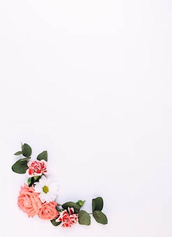 Elevated view of flowers and leaf decorated on white background