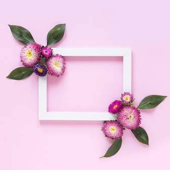 Elevated view of frame decorated with flowers on pink background