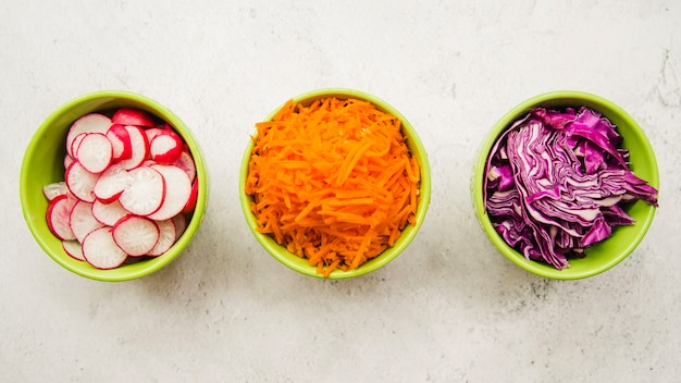 Elevated view of fresh chopped ingredients in bowl