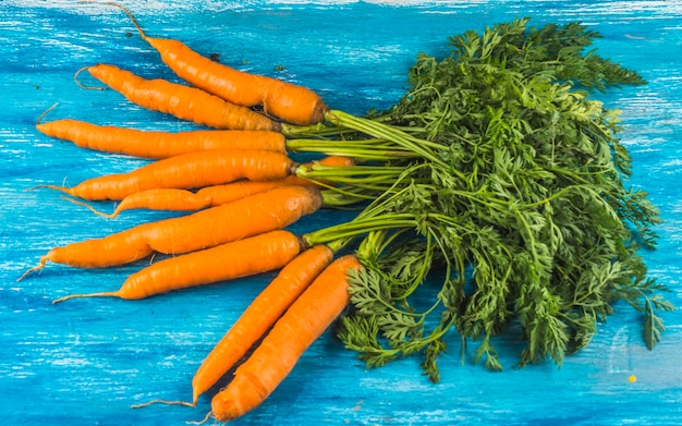 Elevated view of fresh organic carrots on blue wooden surface