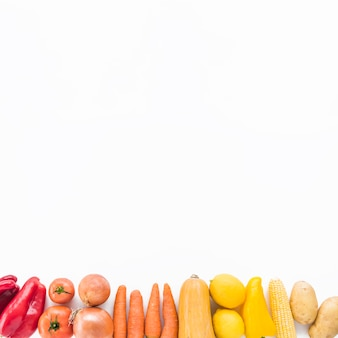 Elevated view of fresh vegetables at the bottom of white background
