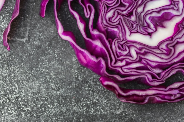Elevated view of healthy purple cabbage