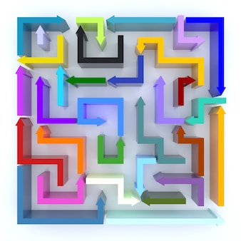 An elevated view of multi colored arrows maze. 3d rendering