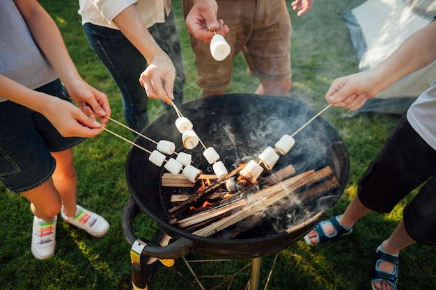 Повышенный вид рук жарки зефира на огне барбекю