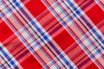 Elevated view of tartan textile pattern