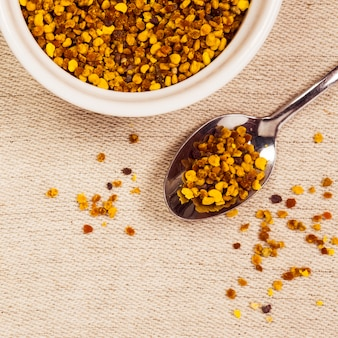 Elevated view of organic bee pollen