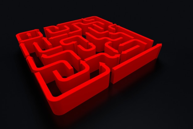 An elevated view of red arrows maze. 3d rendering