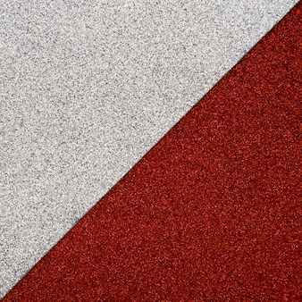 Elevated view of red and grey carpet