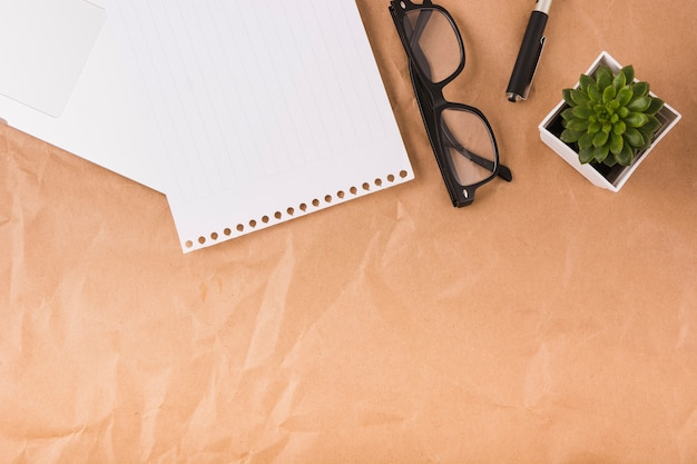 Elevated view of single page; spectacles; pen and potted plant on brown paper background