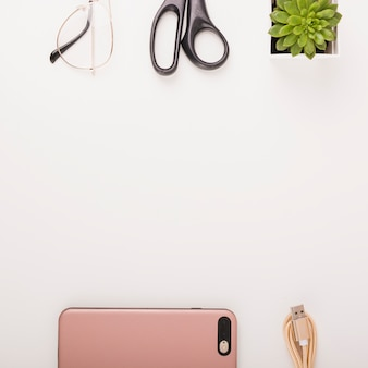 Elevated view of smartphone; usb cable; potted plant; scissors and spectacles on white background