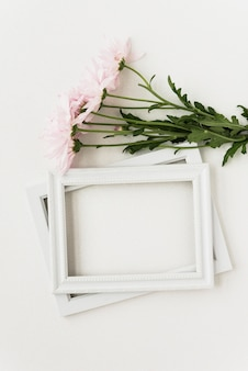 Elevated view of two picture frames and pink flowers on white surface