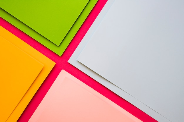 Elevated view of various multi colored cardboard papers