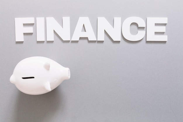 Elevated view of white finance word and piggybank on gray background