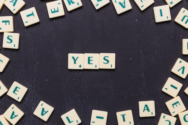 Elevated view of yes word made from game scrabble letters