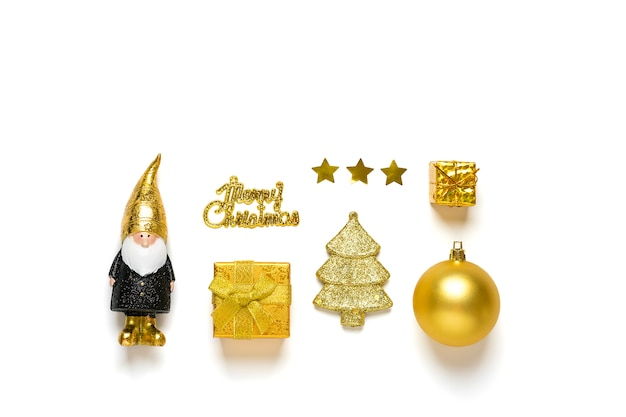 Elf, bauble, tree, gift box decorated gold sparkle in black, golden color isolated on white background. happy new year, merry christmas concept
