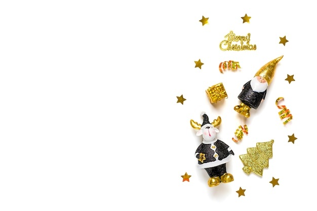 Elf, deer decorated with gold sparkle in black, golden color isolated on white background.