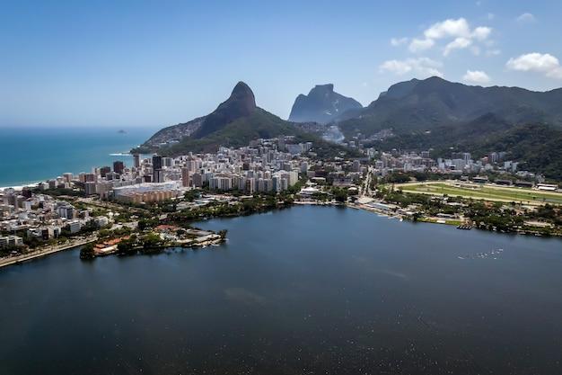 Elite lagoa district in rio de janeiro. view from drone.