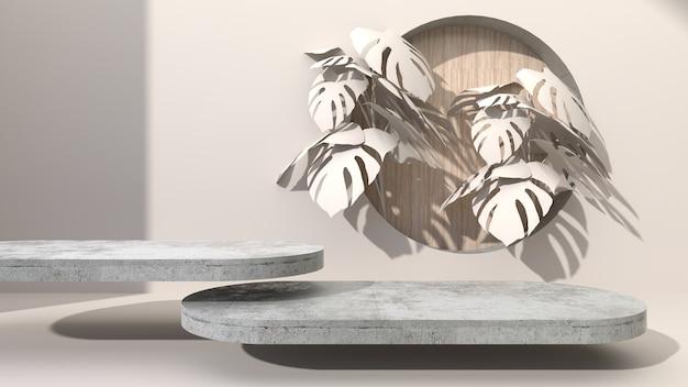 타원형 형상 콘크리트 크림 색 추상적 인 배경에 드릴 구멍 나무 라운드 퍼 팅. monstera 잎으로 장식하십시오. 화장품 선물용. 3d 렌더링